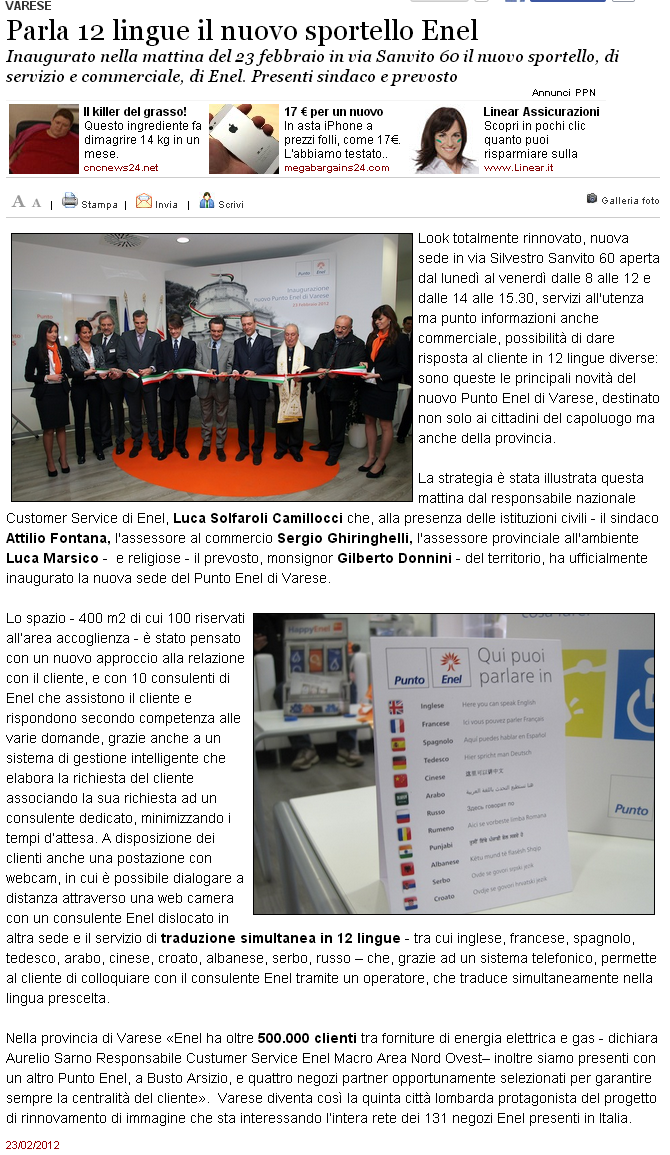 Varese: Parla 12 lingue il nuovo sportello Enel