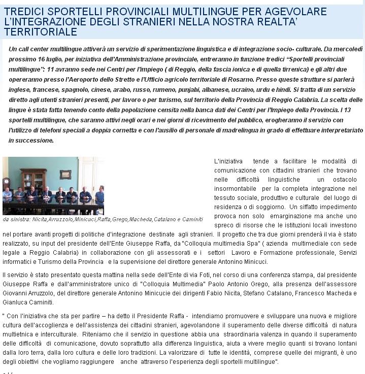 Provincia di reggio Calabria: 13 Sportelli Multilingue