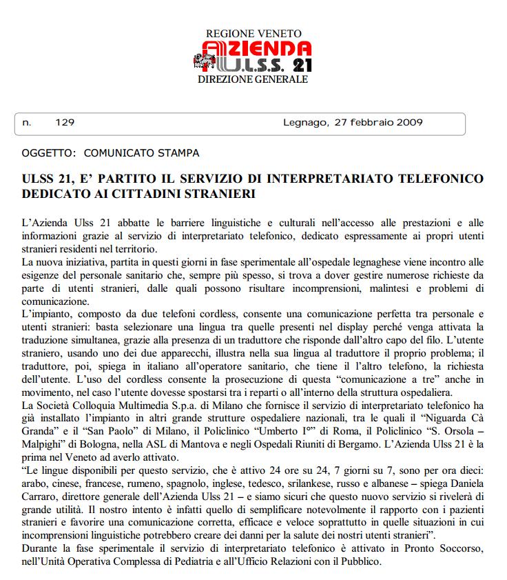 ULSS 21 Legnago  (Veneto)
