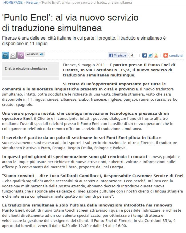 La Nazione - Firenze - Punto Enel